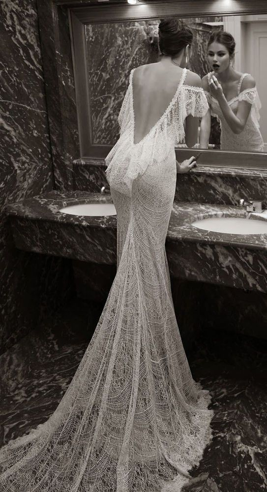 Berta replica Sexy Backless White Lace Wedding Dress, Size 6 #Handmade