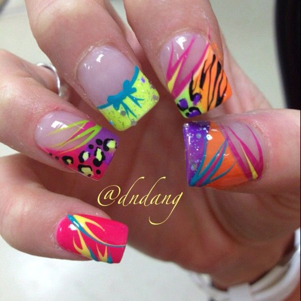 Wild French Tip Nail Designs: 25+ Best Ideas About Bright Acrylic Nails On Pinterest
