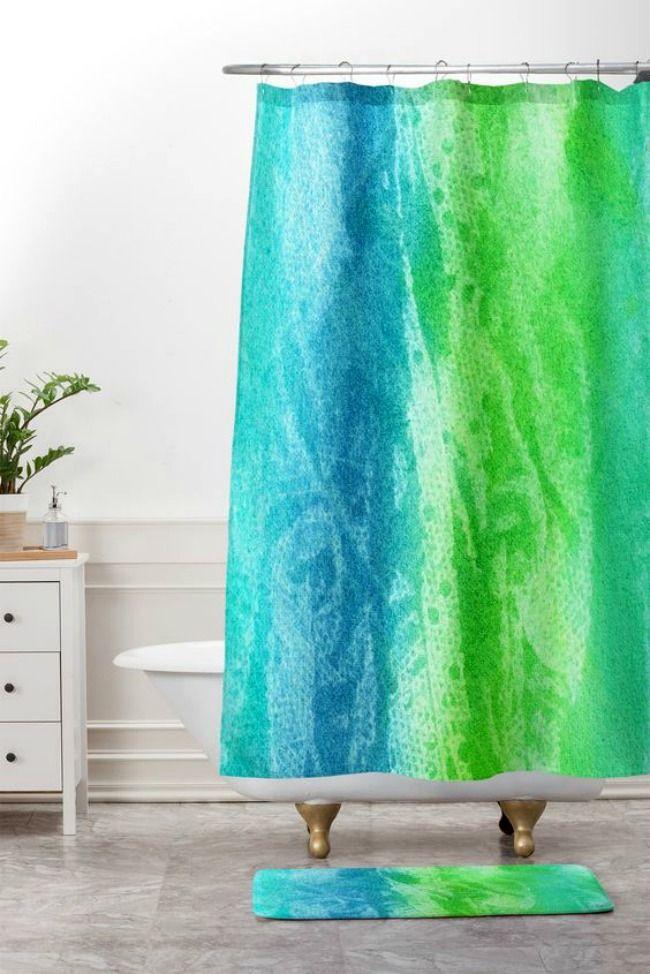 Caribbean Sea Shower Curtain And Mat Watercolor Shower Curtain