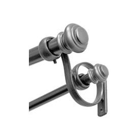 Allen + Roth 36 In To 72 In Pewter Metal Double Curtain Rod