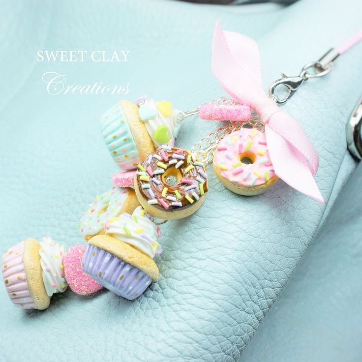 Cupcakes Donuts and Hearts Keychain Purse Polymer Clay Miniature Food Jewelry Handmade by Sweet Clay Creations