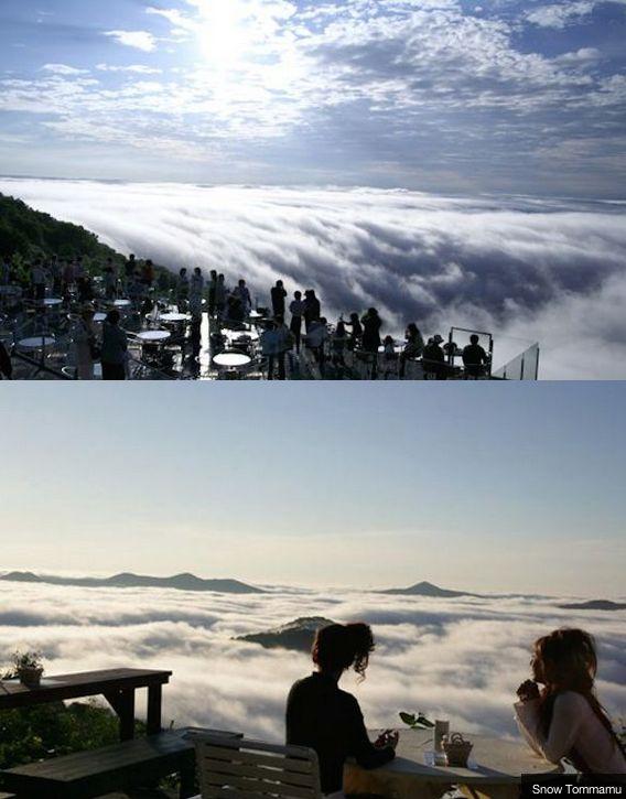 Japan's Hoshino Resort Tomamu, on the island of Hokkaido lets you dine among the clouds.