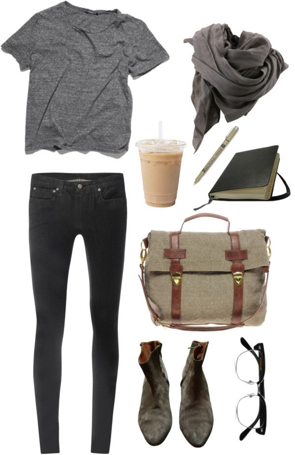 Relaxed, casual and comfortable style. Gray t-shirt, denim jeans and scarf. Outfit combination with coffee and notebook.
