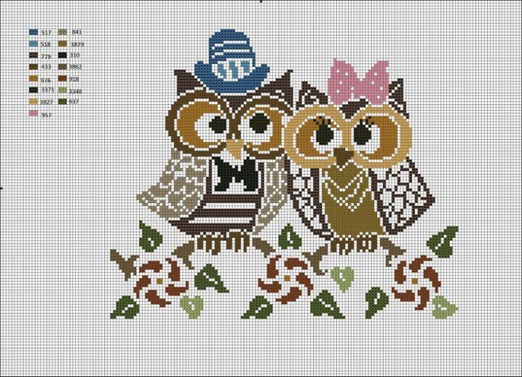 love-bird owls cross stitch marriage wedding