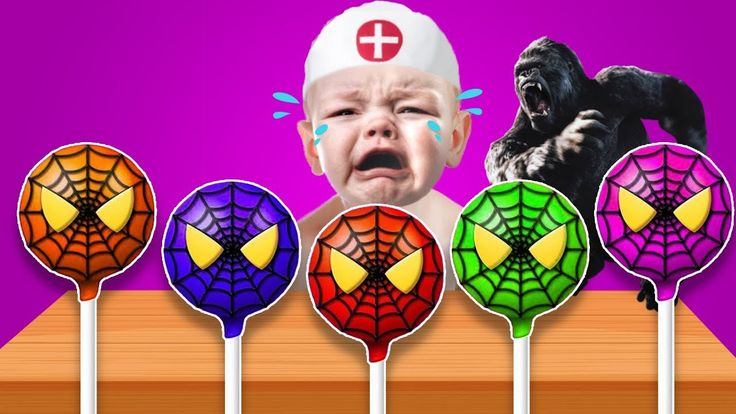 Learn Color with Spiderman Lollipop Bad Baby Crying - Learn Color with M...