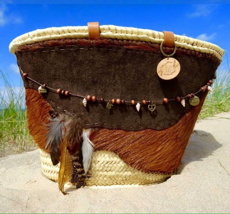 Handmade Boho beach bag in bohemian gypsy hippie style.