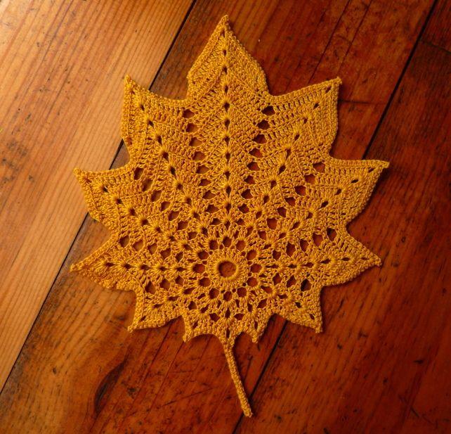 Autumn leaf crochet doily - yellow   Oh My Craft