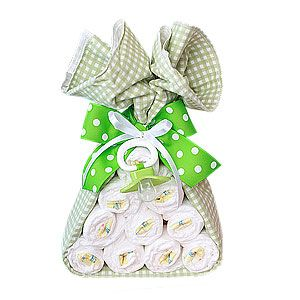 For baby shower- Stork bundle - rolled diapers tied with baby blanket  ribbon.