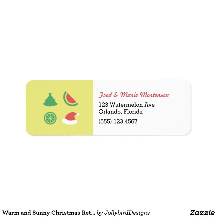 Warm and Sunny Christmas Return Address Label #warm #sunny #Christmas #xmas #xmascollection #tropicalfruits #tree #santaclaus #watermelon #orange #label #returnaddress