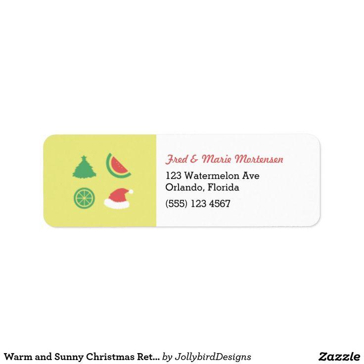 Warm and Sunny Christmas Return Address Label #warm #sunny #Christmas #xmas #xmascollection #tropicalfruits #tree #santaclaus #watermelon #orange #label #returnaddress