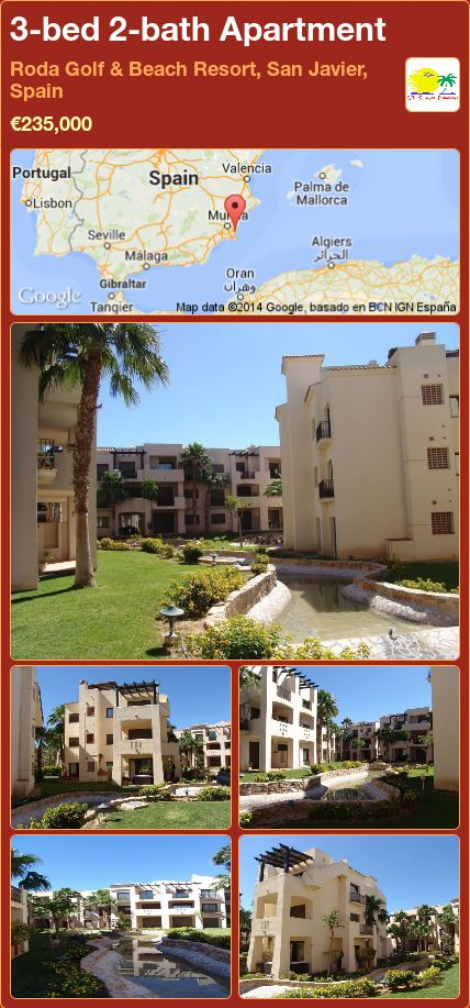 3-bed 2-bath Apartment for Sale in Roda Golf & Beach Resort, San Javier, Spain ►€235,000