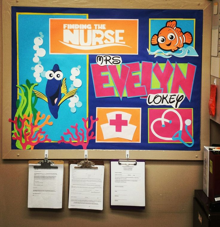 School nurse bulletin board using the Best of Pixar Cricut cartridge. I Re-made the Finding Nemo logo to say Finding the Nurse. So fun! I used Mickey Font cartridge for the name. I printed the Disney font from a free website. (have a link in my S-cool board) The nurse cap and stethoscope  I cut freehand but I'm sure you can find one to print and cut out. So fun!