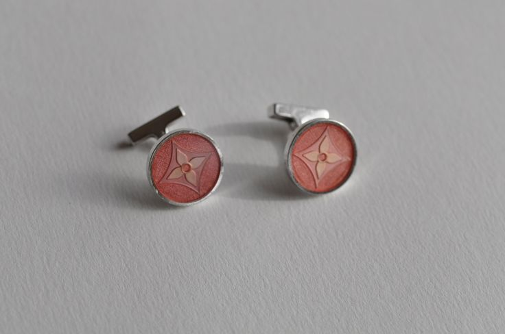 A Pair of Louis Vuitton Silver Flower Logo Enamel Cufflinks by mitaineshop on Etsy