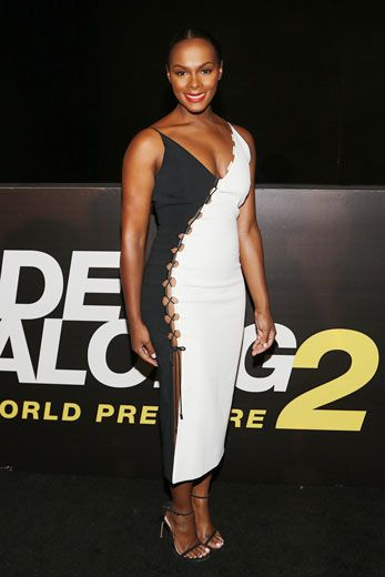 This peek-a-boo black and white dress is fierce! We love how it's sultry without showing too much. Go Tika! | essence.com
