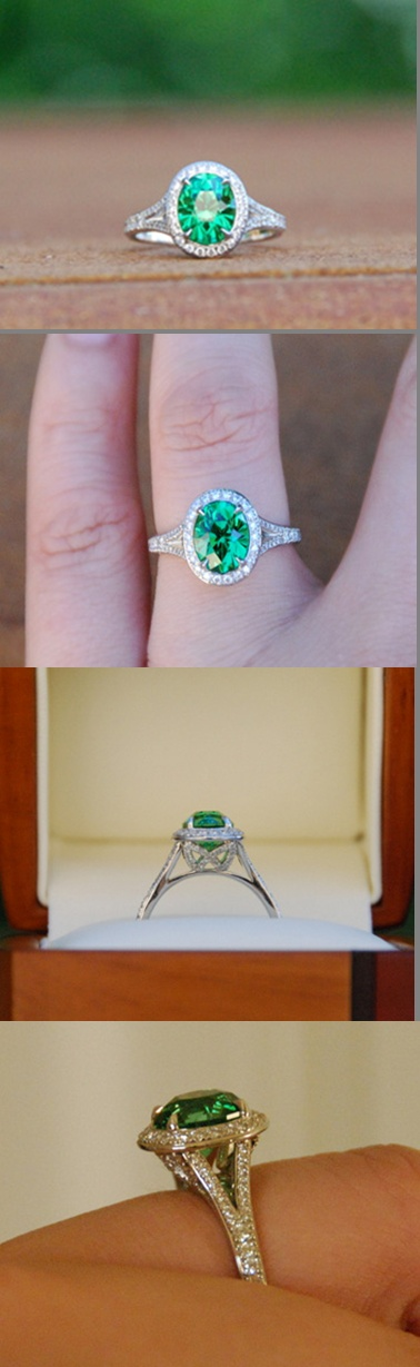 Yingh's 2.33 carat Tsavorite garnet ring features a diamond halo which offsets the rich green gem. Tsavorites are notoriously hard to photograph, but yingh has captured the vivid medium green color with panache.    Many people imagine garnets to be dark brownish red gems set in Grandma's old jewelry, but garnets actually come in an array of colors!