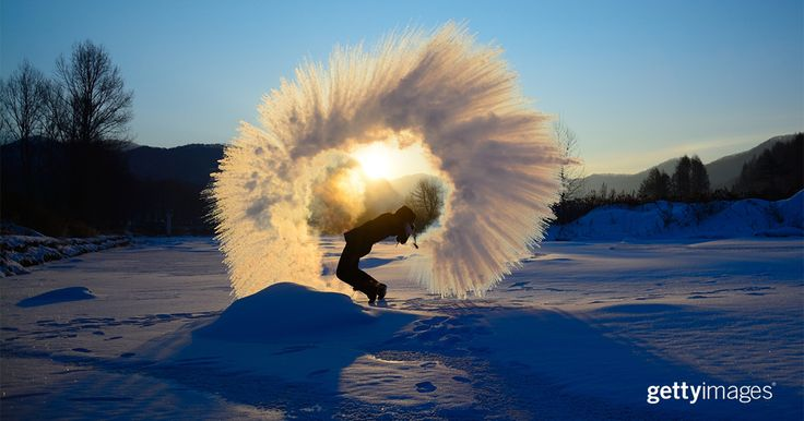 Water freezes into ice in mid-air above a student at Jilin Agricultural University on Jan. 25, 2016, during a cold snap in Changchun, China.  #2016InFocus