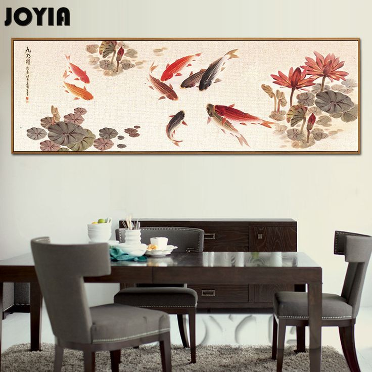 Wall Art Chinese Calligraphy Painting Ink Koi Fish Pond Lotus Flower Canvas Paintings For Hall Living