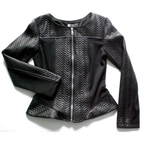 Black leatherette biker jacket