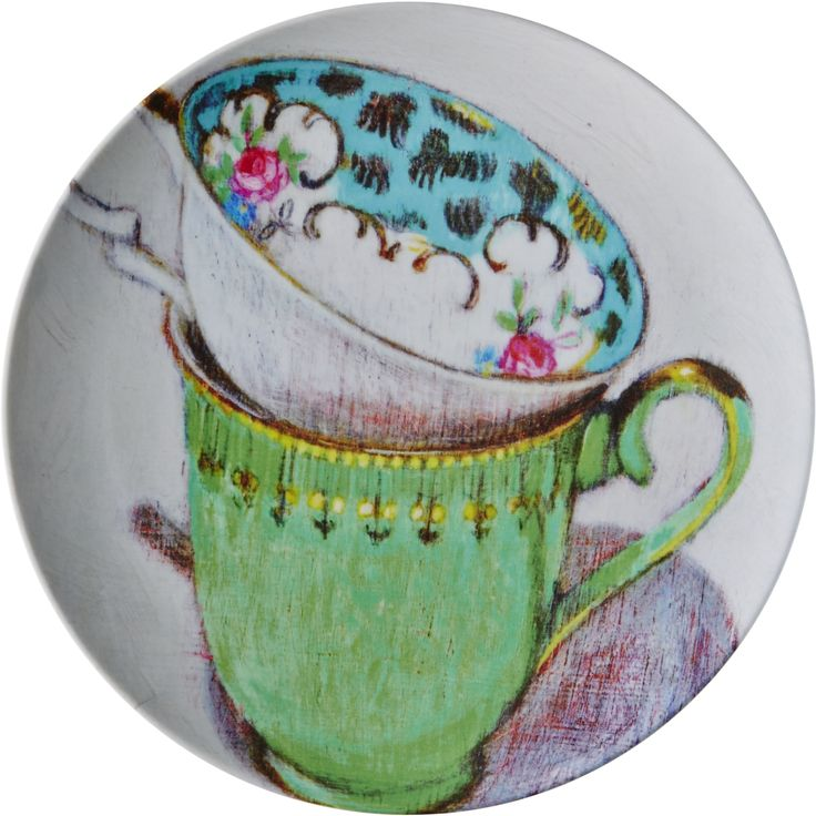 Melamine Side Plate With Andrea 2 Teacups Print Maison