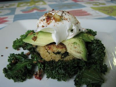 two foodies & a pup: Kale & Quinoa Cakes with Avocado & Poached E...