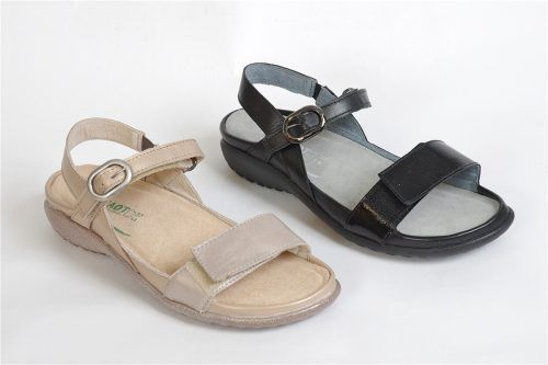 MOZOTA by Naots: Flat sole double velcro walking sandal. Removable footbed, orthotic friendly.  Very light and flexible.
