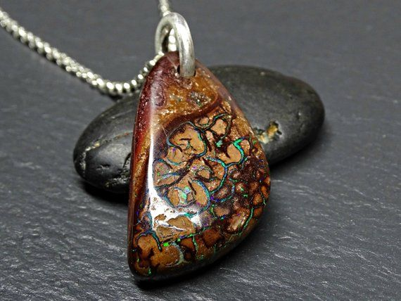 Sterling Silver 18 Chain Natural Stone Necklace NATURAL Genuine Boulder Opal Sterling Silver Pendant Necklace Boulder Opal Necklace