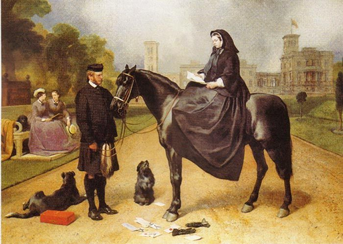 """""""Queen Victoria at Osborne"""" painted by Sir Edwin Landseer shows Queen Victoria, seated on a horse held by John Brown, a Highland gillie who provided companionship to the queen after the death of her husband, Prince Albert. On the bench at left are two of the queen's daughters, Princess Helena and Princess Louise. There are three dogs in the painting, and the one behind Brown is a collie."""