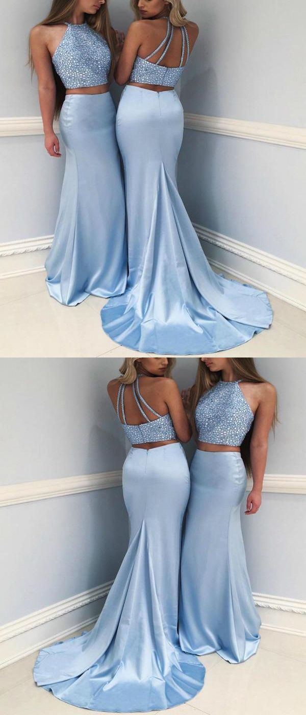 Mermaid two pieces halter sleeveless long prom dresses with beading