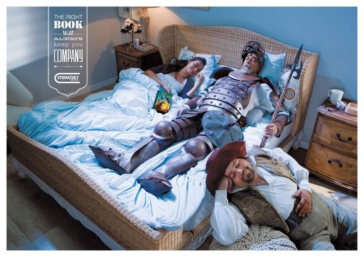 New Bookstore Ads Capture The Magic Of Reading For anyone who has ever read a good book in bed. Don Quixote