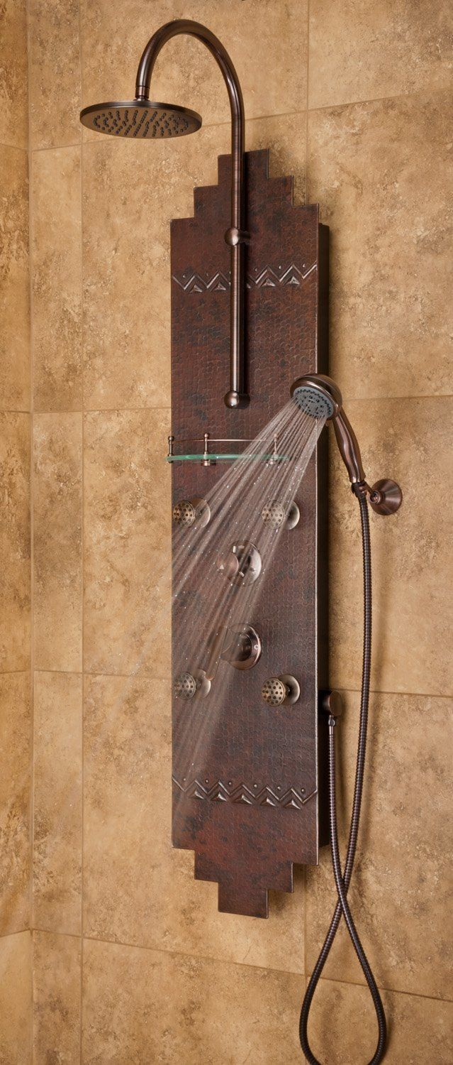 Oil Rubbed Bronze Hammered Copper Navajo Showerspa W 8 In 2021 Shower Panels Shower Heads Shower Systems