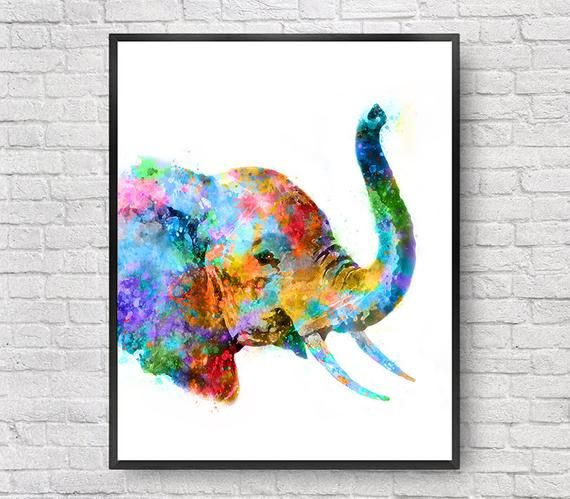 Elephant Print Watercolor Painting Elephant Poster Elephant