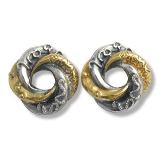 Mini loveknot stud earrings in silver with 22ct gold plated detail by Sophie Harley London.