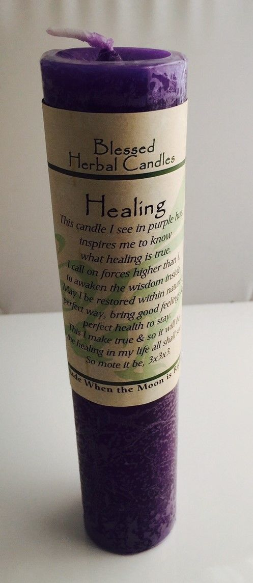 Healing Candle - Blessed Herbal Candle Candle and following text by Coventry Creations A spiritual purple candle with a mellow honeysuckle & cedar oil blend. Complete healing occurs in body, mind and