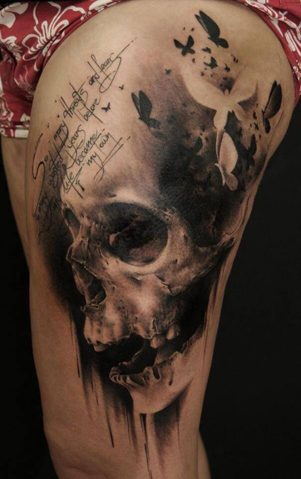 -Skull thigh tattoo - 100 Awesome Skull Tattoo Designs  <3 <3