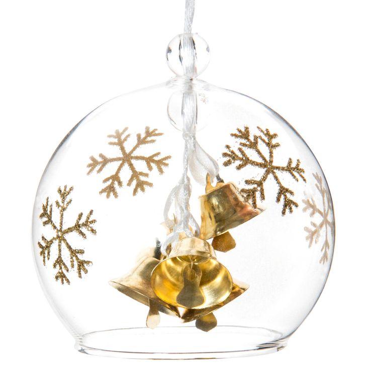 Pallina di Natale con campane dorate in vetro  8 cm   - Venduto x 12