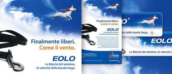 """Campagna di lancio servizio di connettività """"EOLO"""" (2007). Affissioni, direct marketing, web banner."""