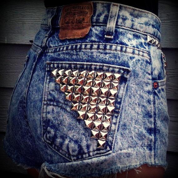 Vintage High Waisted Studded Acid Wash Levis Cut Off Shorts Size 7. $40.00 USD, via Etsy.
