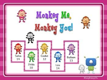 Here is a great oral interaction activity for your young learners. Play a sorting game and learn colours, numbers and alphabet. Can your students help you sort the monkeys in a monkey school?Contents: Instructions (AmE, BrE)Functional Language (AmE, BrE)72 Activity Cards72 Flashcards
