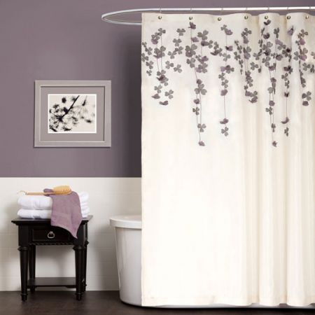 Look What I Found On Ivory Purple Flower Drops Shower Curtain By Lush Décor