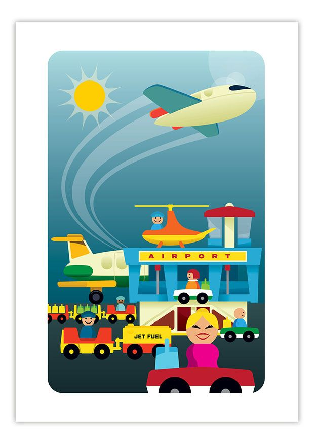 Vintage Fisher Price Little People art prints. Airport