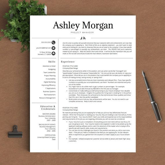 this professional resume template features a script initial design that lets you stand out while still maintaining an air of professionalism