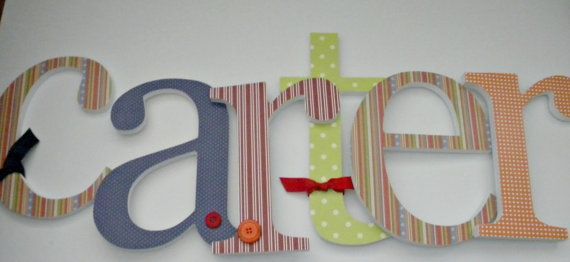 colorful wooden letters for nursery: 10 Wooden, Nurseries Letters For Boys, Kids Room, Baby Boys, Wooden Wall, Baby Room, Wooden Letters, Boys Room, Babies Rooms