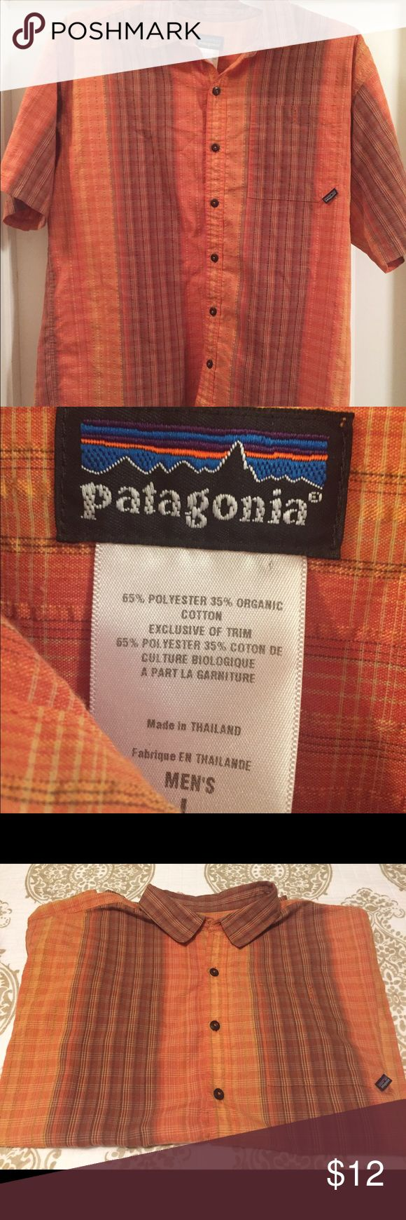 Men's Patagonia short sleeve button front Large The shirt is in very good condition, however, it is missing the very top collar button as pictured. Size large Patagonia Shirts Casual Button Down Shirts