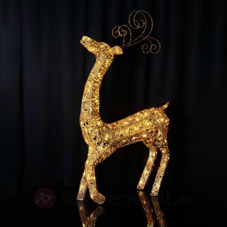 Funkelndes LED-Rentier IP44 stehend 122 cm gold