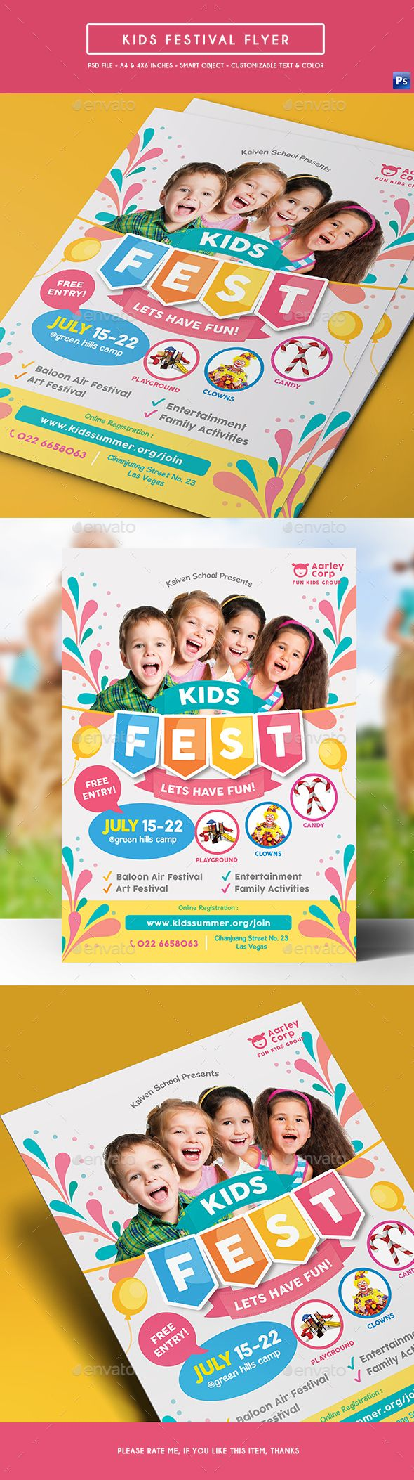 Kids Festival Flyer — Photoshop PSD #art #camp • Download ➝ https://graphicriver.net/item/kids-festival-flyer/19162784?ref=pxcr