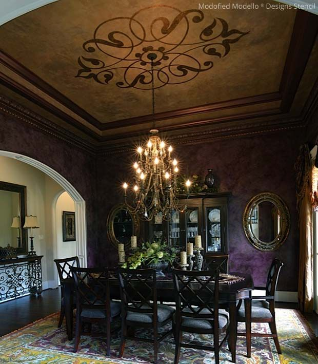 198 best stenciled and painted ceilings images on for Dining room ceiling paint ideas