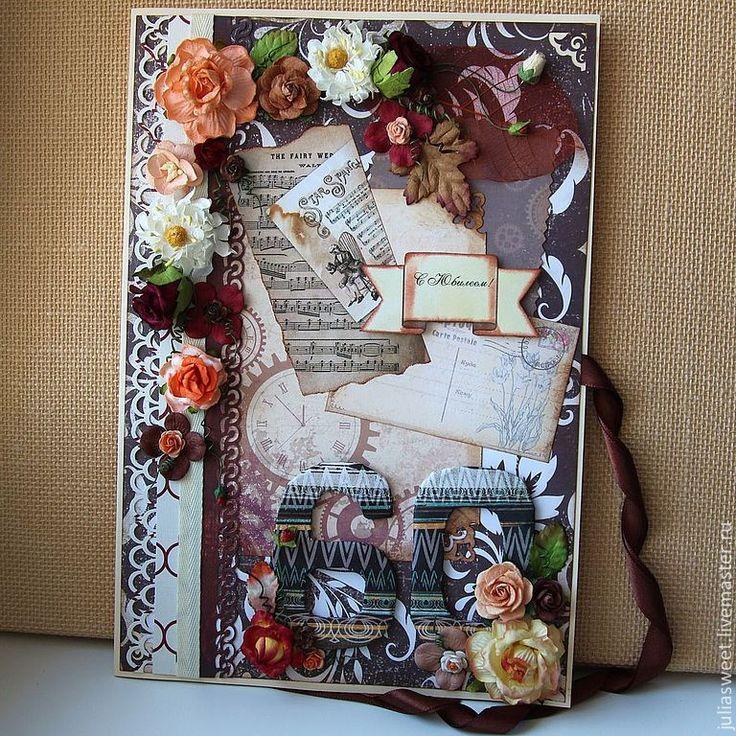 """Купить Открытка-великан """"Мужской юбилей"""" - Открытка ручной работы, открытка, открытка на день рождения"""