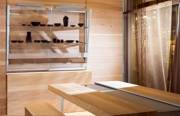 The new cooking table and wall mounted shelving element -both part of bulthaup's…