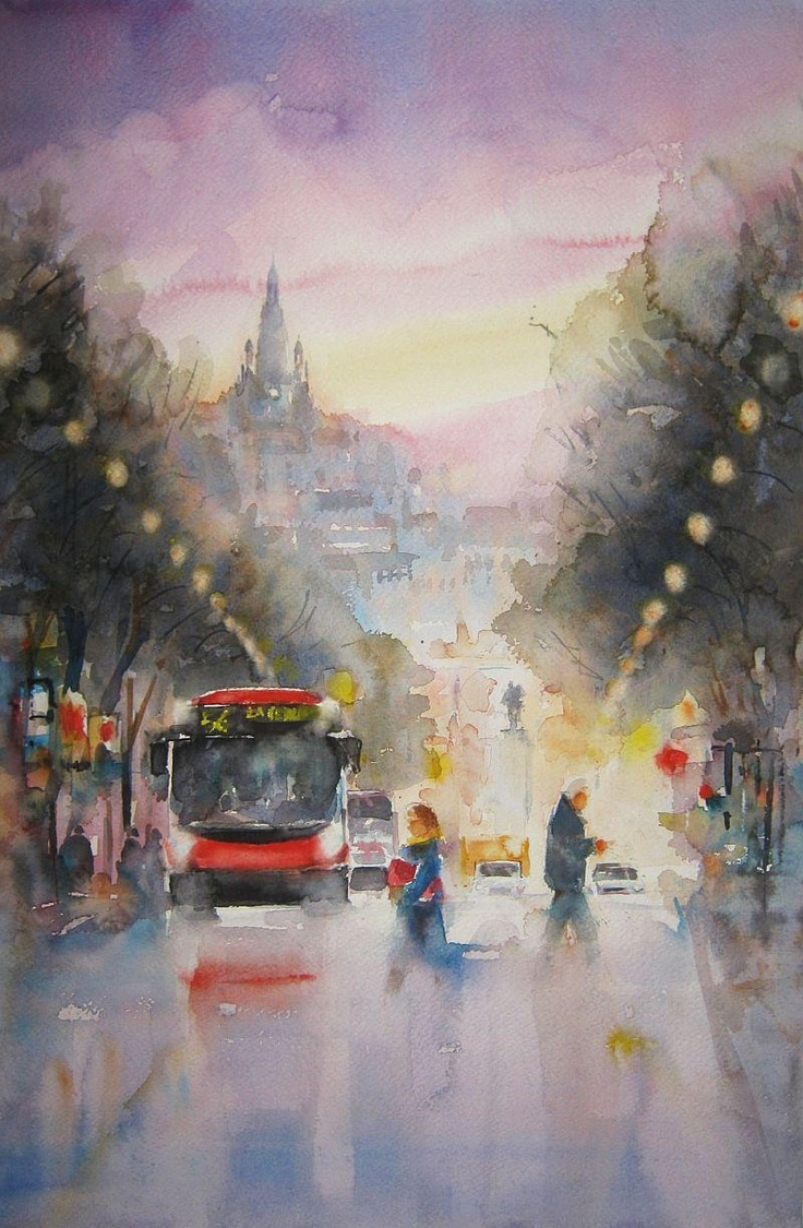 Main Street at dawn, Bilbao, Spain / Gran Vía al amanecer,Bilbao. Watercolour by Nusret Topuzoglu, Istanbul,Turkey. SOLD