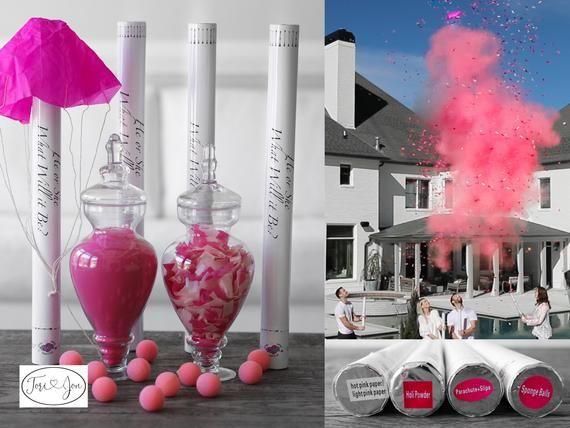 24 Confetti Powder Cannon Gender Reveal Both Smoke Etsy Confetti Cannon Gender Reveal Gender Reveal Confetti